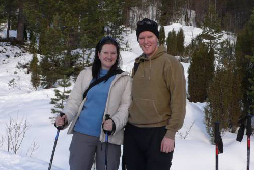 Two clients who went snow shoeing in Norway near to the Sognefjord