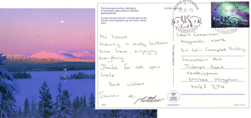 A postcard we received from a happy client enjoying their trip in Finland