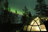 The glass igloo at Kakslauttanen Resort in Finland