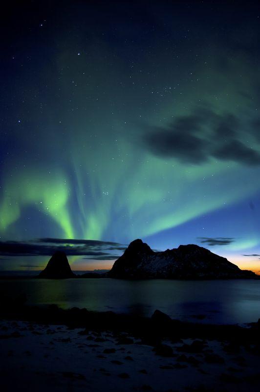 Arctic Autumn And The Aurora Borealis In The Lofoten Islands