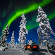 Lodge and northern lights