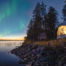 Aurora dome under Northern lights