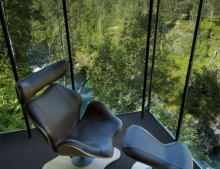 A chair with a view at the Landscape hotel in the Geirangerfjord. Image by Knut Slinning
