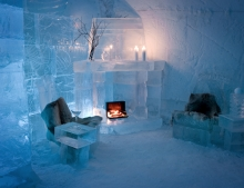 The Igloo Hotel is one of only two snow hotels in Northern Norway. This is the unique bar made only of snow and ice. Even the glasses are made with ice!