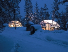 Stay for one night in the fabulous glass igloos - designed to give you optimum view of the night sky and aurora.